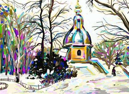 digital painting of winter landscape Stock Vector - 17416151
