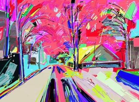 冬の風景のデジタル絵画
