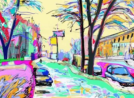 arte moderno: digital de la pintura de paisaje de invierno