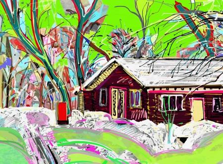 digital painting of winter landscape Stock Vector - 17416300