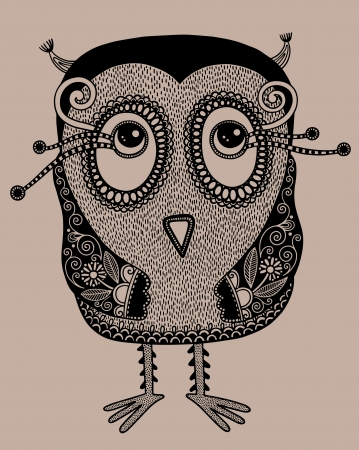 fantasy art: original modern cute ornate doodle fantasy owl