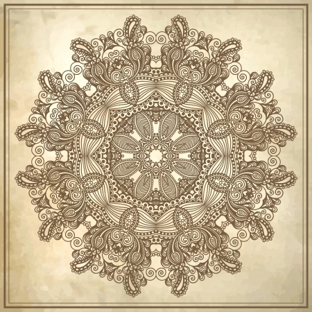 flower circle design on grunge background with lace ornament Stock Vector - 17416172