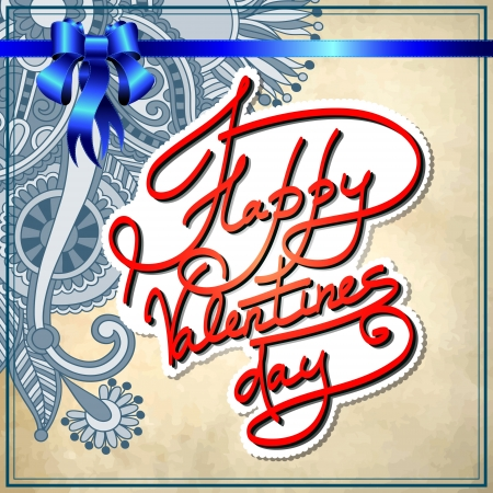 hand lettering inscription - happy valentines day, on grungy paper background Stock Vector - 17416171