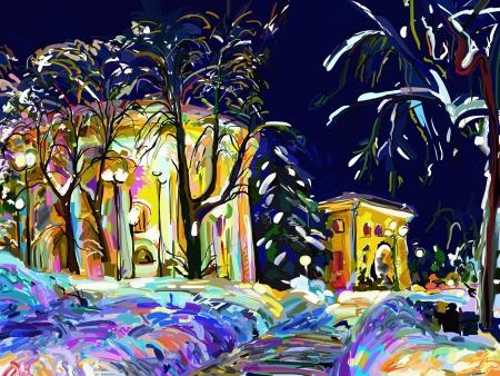 冬の夜の街並みデジタル絵画  イラスト・ベクター素材