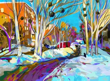 冬の景観のオリジナルのデジタル絵画。現代印象派