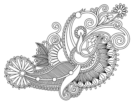 original hand draw line art ornate flower design. Ukrainian traditional style Stock Vector - 17416093
