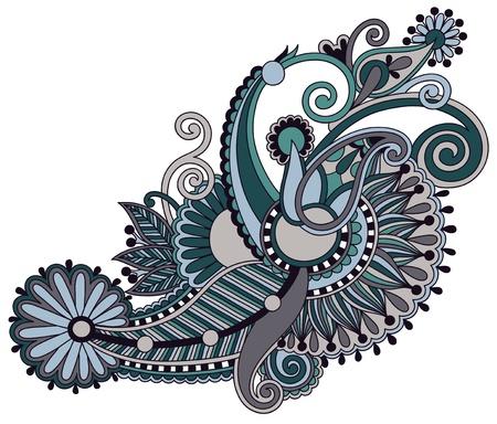 lace filigree: original hand draw line art ornate flower design. Ukrainian traditional style Illustration
