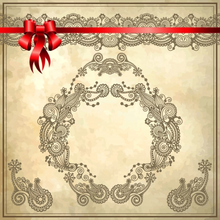 filigree background: Holiday background with red ribbon and floral ornament on grunge background