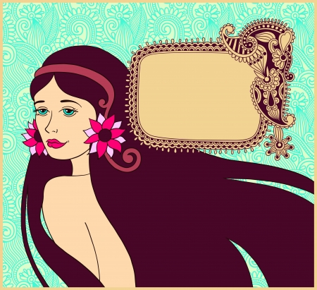 beautiful brunette girl on floral background with ornate frame for your text Vector
