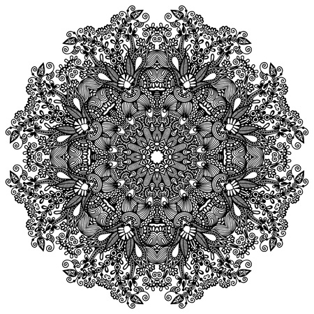 lace pattern: Circle lace ornament, round ornamental geometric doily pattern
