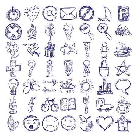 house sketch: set of 49 hand draw web doodle icon design elements
