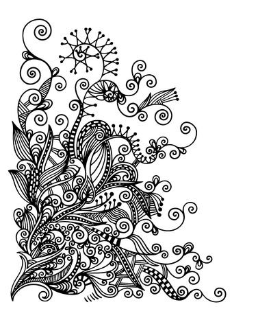 hindi: original hand draw line art ornate flower design. Ukrainian traditional style Illustration