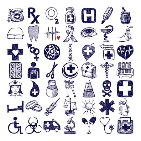 49 手の医療テーマ図面落書きアイコン セット