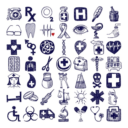 medical drawing: 49 hand drawing doodle icon set, medical theme