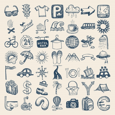 travel luggage: 49 hand drawing doodle icon set, travel theme Illustration