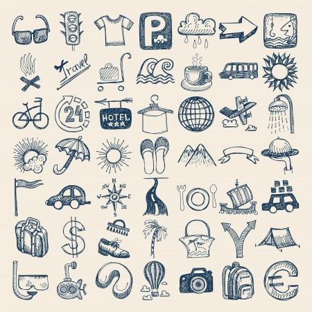 mochila viaje: 49 mano conjunto de dibujos icono garabato, tema de los viajes