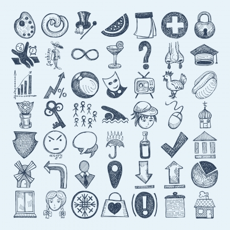 draw a sketch: 49 hand drawing doodle icon set Illustration