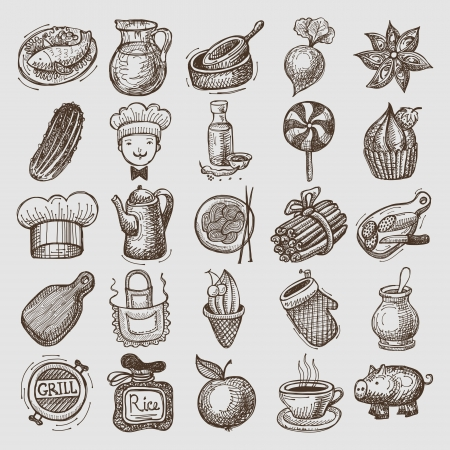 25 sketch doodle icons food  イラスト・ベクター素材