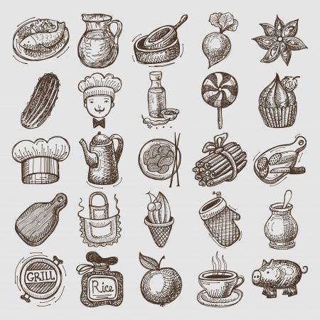 25 スケッチ落書きアイコン食品  イラスト・ベクター素材