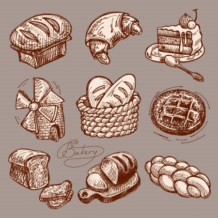 bakery products: digital drawing bakery icon set