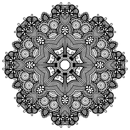 Circle lace ornament, round ornamental geometric doily pattern Stock Vector - 17418210