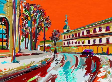 冬都市の景観現代印象派のオリジナルのデジタル絵画  イラスト・ベクター素材
