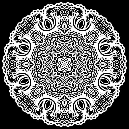 Circle lace ornament, round ornamental geometric doily pattern Stock Vector - 17418200