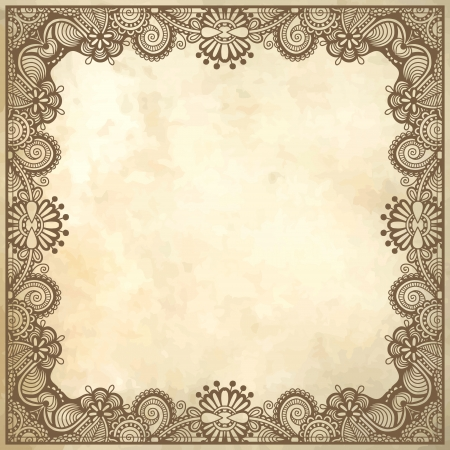 flower frame design on grunge background Stock Vector - 17418222