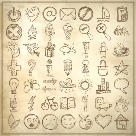 set of 49 hand draw web icon design elements on grunge background Vector