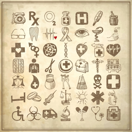 49 hand drawing doodle icon set on grunge paper background, medical theme Vector