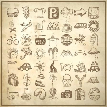 49 手の図面の落書きアイコン グランジ紙の背景、旅行のテーマに設定  イラスト・ベクター素材