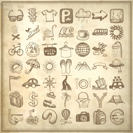 49 hand drawing doodle icon set on grunge paper background, travel theme Illustration