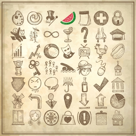 correctly: 49 hand drawing doodle icon set on grunge paper background