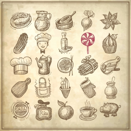 kitchen apron: 25 sketch doodle icons food on grunge paper background Illustration