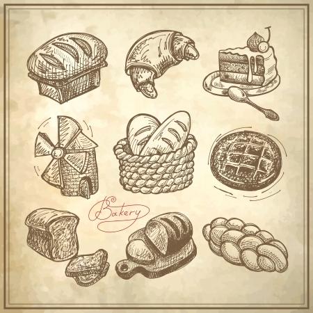 dibujo digital panadería conjunto de iconos en fondo de papel grunge