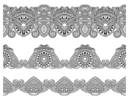 strip design: collection of seamless ornamental floral stripes Illustration