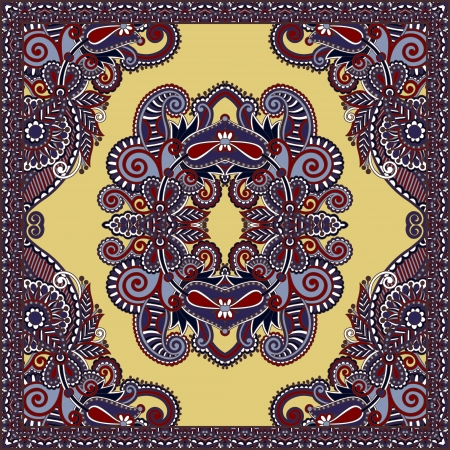 Traditional ornamental floral paisley bandanna. You can use this pattern in the design of carpet, shawl, pillow, cushion Stock Vector - 18016137