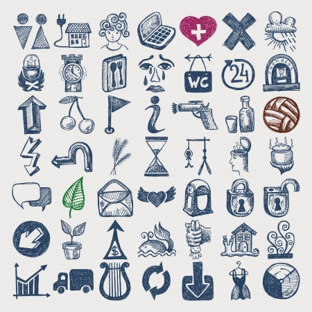 guillotine: 49 hand drawing doodle icon set Illustration