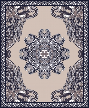 Ukrainian Oriental Floral Ornamental Carpet Design Illustration