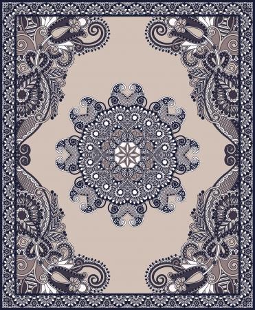 rug: Ukrainian Oriental Floral Ornamental Carpet Design Illustration