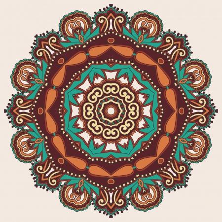 Circle lace ornament, round ornamental geometric doily pattern Stock Vector - 18016010