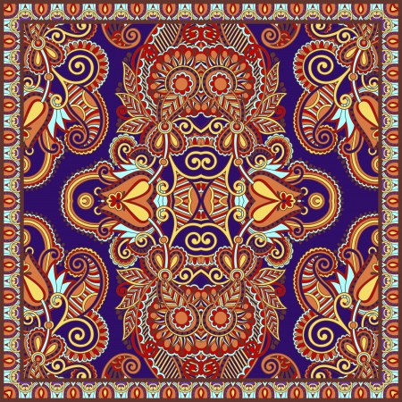 cotton fabric: Traditional ornamental floral paisley bandanna. You can use this pattern in the design of carpet, shawl, pillow, cushion Illustration