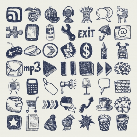 49 hand drawing doodle icon set Stock Vector - 18030208