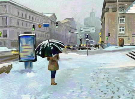 digital art painting of winter city landscape