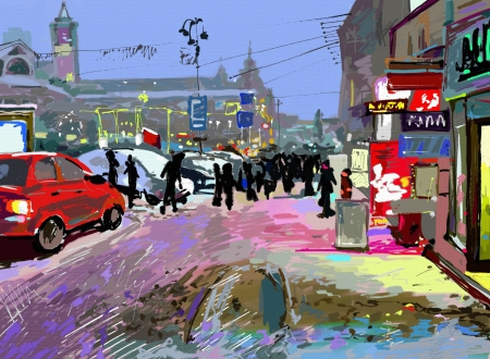 digital art painting of evening winter city landscape photo