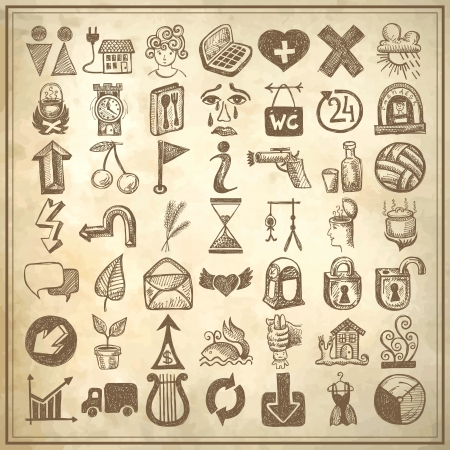 lightning arrow: 49 hand drawing doodle icon set on grunge background Illustration