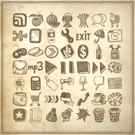 49 hand drawing doodle icon set on grunge background Stock Vector - 18035371