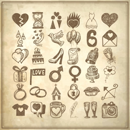 wedding cake: 36 hand drawing doodle icon set, wedding sketchy illustration on grunge background