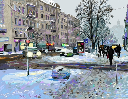 digital painting of winter Kiev city landscape, Ukraine, slush and snow weather photo