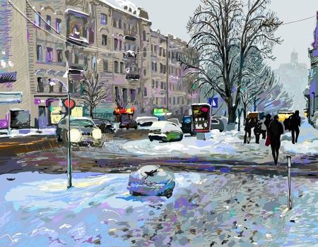 slush: digital painting of winter Kiev city landscape, Ukraine, slush and snow weather